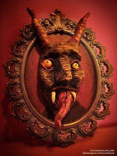 framed Krampus artwork by Vocisconnesse on etsy