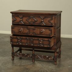English Jacobean Style Raised Chest of Drawers | From a unique collection of antique and modern commodes and chests of drawers at https://www.1stdibs.com/furniture/storage-case-pieces/commodes-chests-of-drawers/
