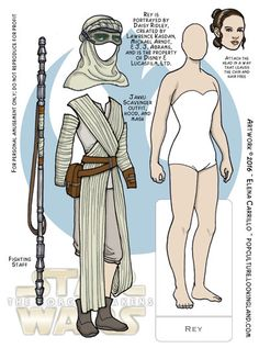 Star Wars Paper Dolls: Rey No. 1 ~ Pop Culture Paper Dolls Diy Paper, Paper Crafts, Star Wars Crafts, Paper Dolls Printable, Simple Minds, Female Hero, Star Wars Party, Vintage Paper Dolls, Paper Toys