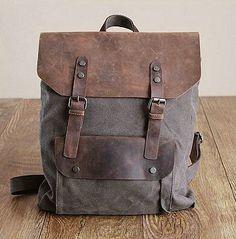 Grey Leather-canvas backpack /Leather bag/Canvas bag /Shopping bag/ Stitch bag/Shoulder bag/iPad bag/Schoolbag/ Satchel