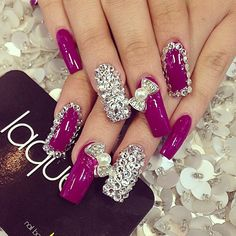 Bling nail art ♥ the color Perfect Nails, Gorgeous Nails, Love Nails, How To Do Nails, Fun Nails, Pretty Nails, Crazy Nail Art, Cute Nail Art, French Nails Glitter