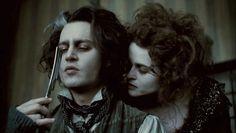 Johnny Depp and Helena Bonham Carter in Sweeney Todd: The Demon Barber of Fleet Street Sweeney Todd, Iconic Movies, Great Movies, Close Up, Halloween Film, Halloween Plates, Tim Burton Art, Tim Burton Johnny Depp, Johnny Depp Movies