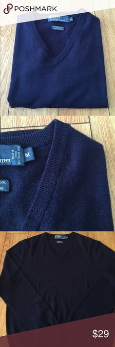 Polo by Ralph Lauren wool/silk/cashmere sweater M Super soft Polo by Ralph Lauren navy blue sweater, size M. A rich blend of materials. Perfect everyday sweater for fall/winter. Gently used, shows two tiny holes hardly noticeable unless you inspect throughly. BUNDLE FOR AN EVEN GREATER DEAL, NO TRADES, OFFERS WELCOME! Polo by Ralph Lauren Sweaters V-Neck