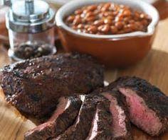 Garlic Peppercorn Flat Iron Steak and Baked Beans