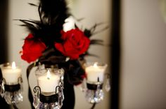 Red and black wedding center pieces  | Red and Black Dramatic Candelabra Centerpiece | Afloral Wedding Flower ...