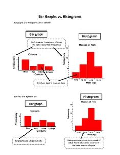 A quick reference or note on the similarities and differences between a bar graph and a histogram.