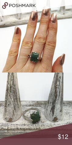 Aventurine gemstone earth spell heal rectangle New with Tags. Gorgeous Natural Gemstone Silver High Quality Electro-Plated ring. No trades or holds. Price is firm. R#252 Aventurine Urban Outfitters Jewelry Rings