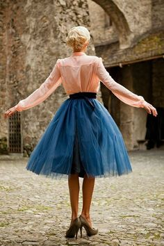 Light Blue Tulle Bloom Skirt from the Something Old, Something New Collection by Shabby Apple