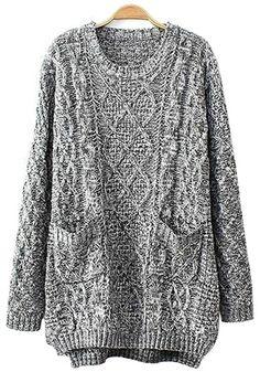 Love Oversized Sweaters! Cozy Grey Plain Pockets Long Sleeve Sweater