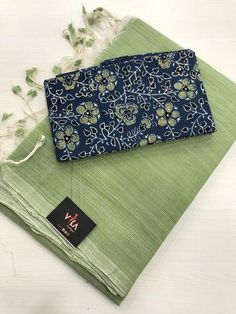 Mangalgiri handloom soft cotton saree comes with running blouse as well extra blouse as shown in the pic Cotton Saree Blouse Designs, Cutwork Blouse Designs, Fancy Blouse Designs, Blue Silk Saree, Kota Silk Saree, Indian Beauty Saree, Indian Sarees, Tulsi Silks, Long Dress Design