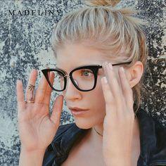 858fe5bb382c9 MADELINY Nouvelle Mode Cat Eye Lunettes Femmes Marque Designer Objectif  Clair Lunettes Femmes UV400 MA480 Lunette