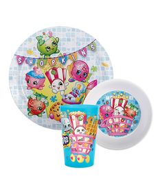Look at this Shopkins™ Three-Piece Dinnerware Set on #zulily today!