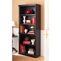 5 Shelf Black Bookcase Wooden Book Case Storage Shelves Wood Bookshelf Shelf  #BetterHomesandGardens