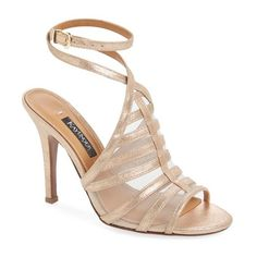"""Kay Unger 'Aminah' Sandal, 4"""" heel (240 AUD) ❤ liked on Polyvore featuring shoes, sandals, rose gold leather, open toe shoes, wrap around shoes, ankle strap sandals, wrap shoes and wrap sandals"""