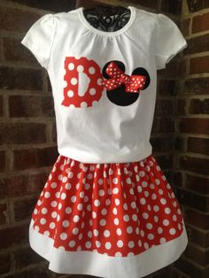 A sweet, comfortable, practical outfit for childs birthday party, Disney vacation, or just everyday wear. Classic red and white polka dotted