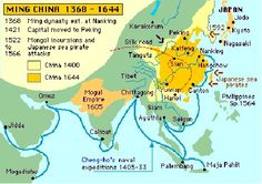 Map of Mughal Empire and Ming Dynasty