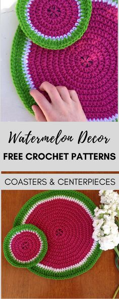 Decorate for Summer with these cute watermelon crochet patterns, available for FREE! You can make a coaster or a fun table centerpiece. The patterns are extremely quick and easy! #crochet #crocheting #watermeloncrochet #freecrochetpattern #freecrochetpatterns #crochetpattern #watermelonpattern #crochetmotif #summercrochet