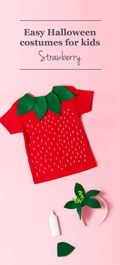 Berry cute! Get how-to instructions for creating a homemade strawberry Halloween costume for kids. #HalloweenCostumes
