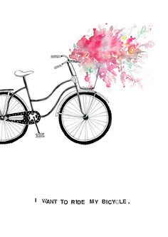 i-want-to-ride-my-bicycle Bycicle Illustration, Bycicle Woman Art And Illustration, Watercolor Illustration, Painting Inspiration, Art Inspo, Art Watercolor, Bicycle Art, Buy Bicycle, Art Graphique, Painting & Drawing