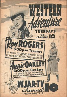 Ad for Western Adventure Tuesdays: Roy Rogers and Annie Oakley. TV Guide, Oct. 13-19, 1956.
