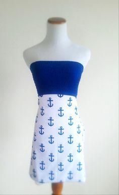 Blue Anchor strapless summer dress