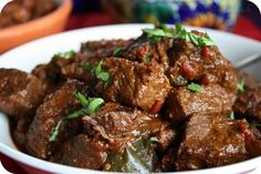 Carne Guisada Recipe Main Dishes with top sirloin, fat, kosher salt, freshly… Meat Recipes, Asian Recipes, Mexican Food Recipes, Appetizer Recipes, Dinner Recipes, Cooking Recipes, Appetizers, Guisada Recipe, Orange Beef