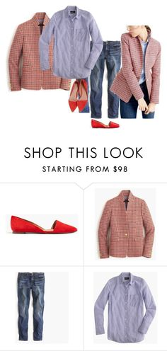 """""""Regent ivory navy red Boyshirt true blue stripe Lydia red denim"""" by justvisiting ❤ liked on Polyvore featuring Madewell, J.Crew, women's clothing, women's fashion, women, female, woman, misses and juniors"""