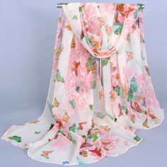 $3.42 Stylish Various Butterflies and Flowers Pattern Chiffon Scarf For Girls