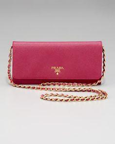 Prada Saffiano Chain Crossbody Wallet