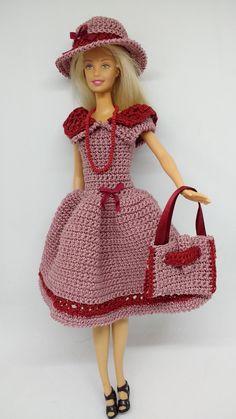 Barbie Knitting Patterns, Knitting Dolls Clothes, Crochet Barbie Clothes, Barbie Patterns, Doll Clothes Patterns, Crochet Dolls, Clothing Patterns, Dress Patterns, Barbie Dress