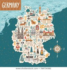 Find Vector Stylized Map Germany Travel Illustration stock images in HD and millions of other royalty-free stock photos, illustrations and vectors in the Shutterstock collection. Travel Maps, Travel Posters, Map Of Spain, Travel Illustration, Map Vector, Map Design, Grafik Design, Cartography, Map Art