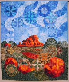 Jenny Bowker - quiltmaker and textile artist - Quilts - The Eggs of the Rainbow Serpent Southwestern Quilts, Storm At Sea Quilt, Landscape Art Quilts, Kaleidoscope Quilt, Panel Quilts, Small Quilts, Textile Artists, Applique Quilts, Fabric Art