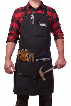 Buy Heavy Duty Waxed Canvas Work Apron with Tool Pockets (Black), Cross-Back Straps & Adjustable at Wish - Shopping Made Fun Cheap Aprons, Aprons For Men, Stick Figure Costume, Shop Apron, Woodworking Apron, Woodworking Tools, Work Aprons, Wood Working For Beginners, Apron Pockets