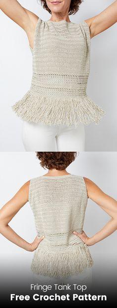 Fringe Tank Top Free Crochet Pattern #crochet #crafts #fashion #style #ideas #handmade #homemade