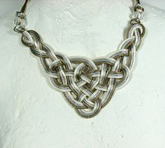 Celtic knot necklace Ivory silver grey and bronze by ShopPretties, $45.00