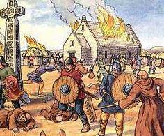Illustration of a Viking raid
