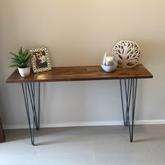 hairpin leg hall table with merbau top