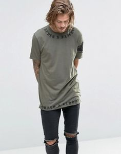 ASOS Longline T-Shirt With Script Neck And Hem Print And Raw Edges