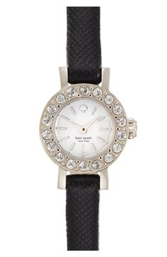 Free shipping and returns on kate spade new york 'pierre' crystal bezel leather strap watch, 10mm at Nordstrom.com. Shimmering crystals brighten the bezel of this ultraslim round watch secured with a slender, scratch-resistant Saffiano leather strap.