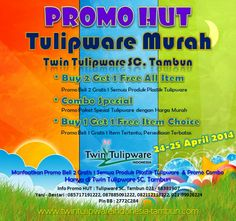 Promo HUT - #Tulipware Murah, 2 Free 1 All Item, 1 Free 1, Promo Combo