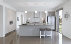 Kitchen colours - light cabinets & splash back with grey counters and dark grey floor tiles