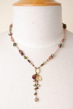 Mauv006N Unique handcrafted designer gemstone cluster pendant collage necklace for women