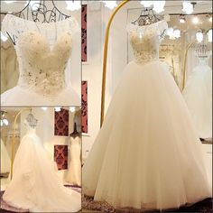 Custom Beautiful White Beaded Corset Wedding Bridal Ball Gown Dress SKU-118043