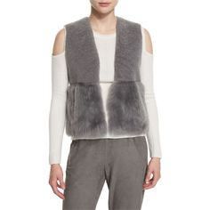 Elie Tahari Carly Cropped Shearling Vest ($375) ❤ liked on Polyvore featuring outerwear, vests, granite, women's apparel vests, sheep fur vest, open front vest, vest waistcoat, sleeveless waistcoat and cropped vest