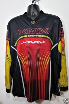 ATHLETIC-WORKS-Mens-L-Retro-XMX-Xtreme-MOTOCROSS-Red-Black-Yellow-Shirt-Jersey