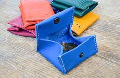 Leather Coin Purse wallet hand-stitched with snap closure