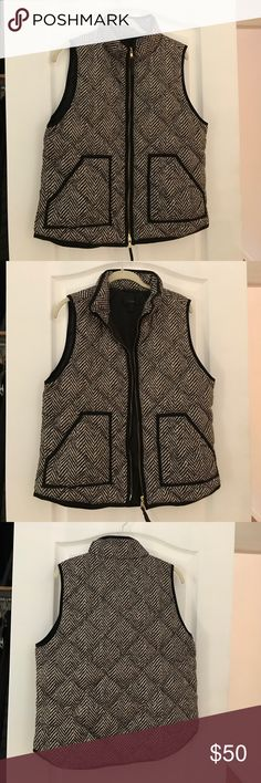 Herringbone Quilted Vest J Crew vest - herringbone pattern with black piping and gold detail J. Crew Jackets & Coats Vests