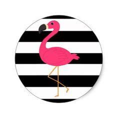 Flamingo Stickers, Tropical 1st Birthday, Luau Tropical Baby Shower, Favors, Flamingle Bachelorette, Destination Wedding, Hawaiian, Striped