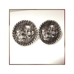 Vintage Cufflinks Comedy Tradegy Antiqued Silver 1950s Mens Jewelry ($45) via Polyvore