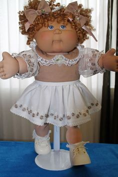 """Cabbage Patch Doll Cloths - Beige/White dress - panties - 2 hair bows - fits 16"""""""